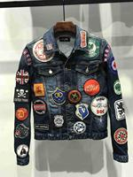 NEW Mens Denim jacket Long Sleeve Cotton Jeans Cardigan Casual dsq jacket Men Tops Clothing