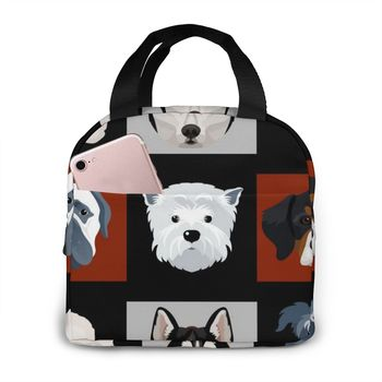 Cartoon Dog Print Thermal Bag For Women Oxford Cloth Food Fresh Keep Fit Cooler Bags Waterproof Picnic Travel Storage Lunch Bags tanie i dobre opinie noisydesigns Other CN (pochodzenie) 2 osób Portable insulated lunch bag Oxford cloth and thick aluminum foil Waterproof moisture-proof breathable and wear-resistant thick handle