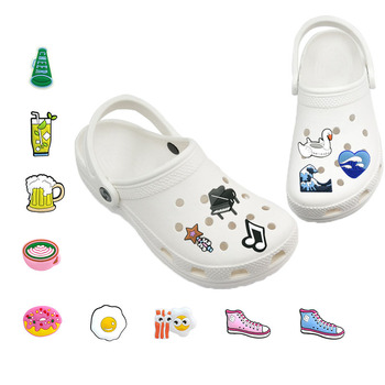 1-5pcs Beer Donuts PVC Shoe Charms Shoe Accessories Piano Poached Egg Shoe Decorations Jibz fit Croc Shoes Food&Drink Kids Gift 9pcs lot the secret life of pets pvc shoe charms shoe accessories shoe decoration for shoes wristbands kids xmas gift