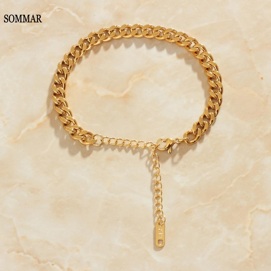 SOMMAR couple gift Gold Vermeil Lady width 6mm/8mm bracelets bangles Metal chain bracelete Jewelry European Style
