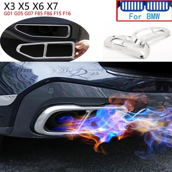 2PC Car Stainless Steel Accessories For BMW X3 X5 X6 X7 G01 G05 F85 F15 F16 F86 G07 Car Exhaust Tipe Tailpipe Cover Trim Sticker image