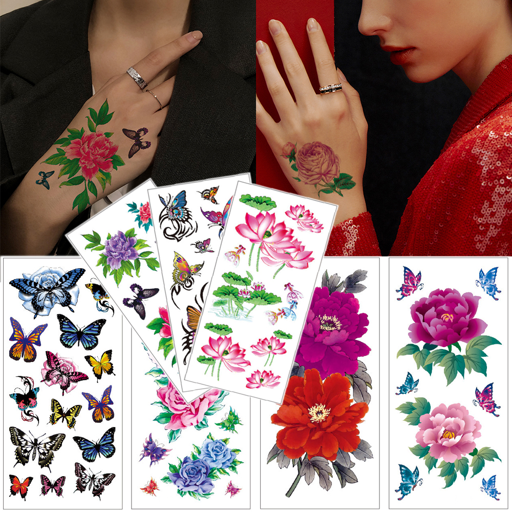 Waterproof Temporary Tattoo Stickers Flower Watercolor Tattoo Lotus Rose Butterfly Hand Body Tattoo For Women