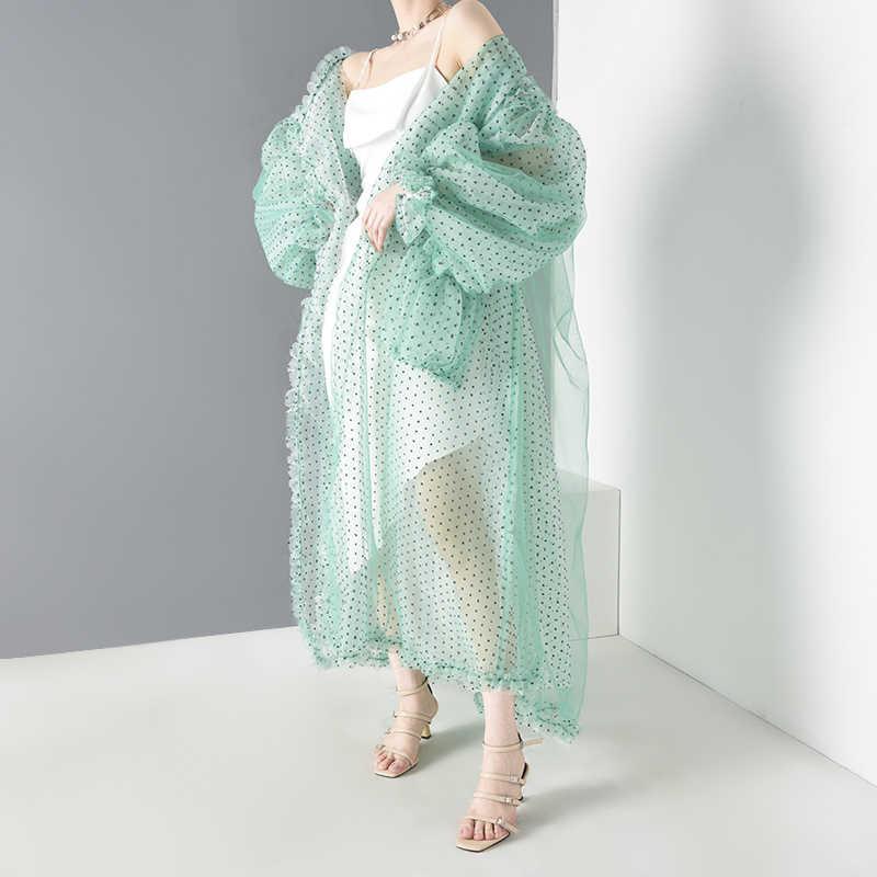 [[EAM] Nữ Lưới Xanh Quan Điểm Dài Size Lớn Áo Mới Dài Tay Vừa Vặn Phù Hợp Áo Sơ Mi Thời Trang Xuân Hè 2020 JF39406