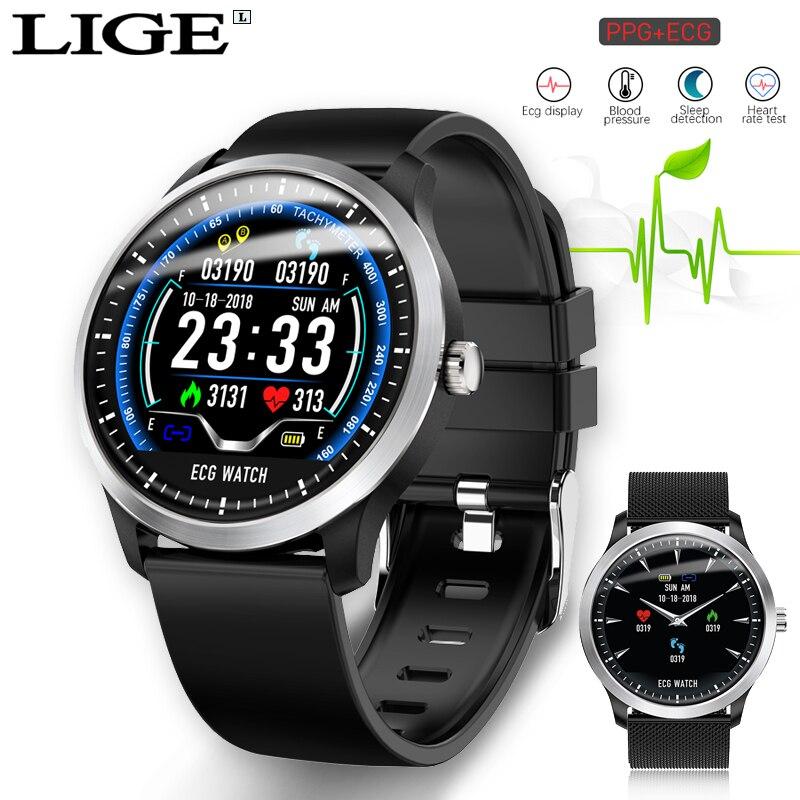 LIGE ECG PPG montre intelligente moniteur de fréquence cardiaque pression artérielle smartwatch ecg affichage sommeil Fitness Tracker Smartwatch Android IOS