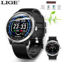 LIGE PPG smartwatch smart watch heart rate monitor de pressão arterial ECG ecg exibição Aptidão Sono Rastreador Smartwatch Android IOS