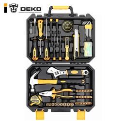 DEKO TZ100 herramienta llave reparación Auto mezclado Paquete de combinación de herramienta de mano Kit con caja de herramientas de plástico caja de almacenamiento