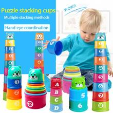 HOT! Baby Stacking Cup Toys Funny Early Educational Baby Toys Rainbow Stacking Tower Toys Baby Bath Toys Children Gift cheap CN(Origin) Plastic dropship wholesale