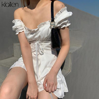 KLALIEN Модное Элегантное Белое Женское мини-платье с бантом летнее праздничное милое пикантное французское романтическое шелковое платье для женщин 2