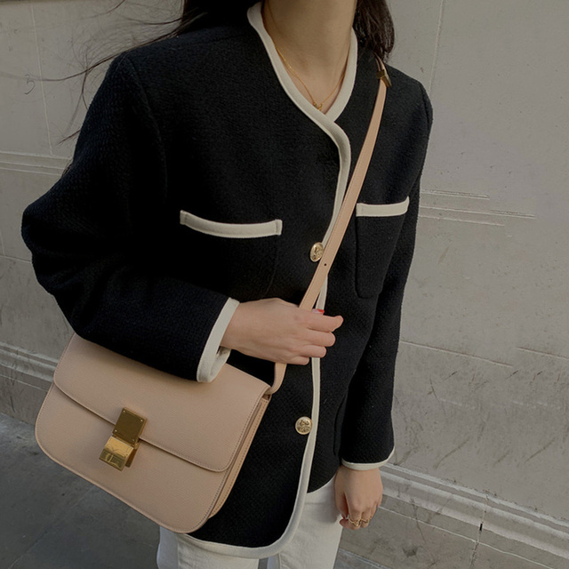 [EWQ] 2021 Autumn Casual New Female Round Neck Single Breasted Loose Panelled Short Jacket Tweed Cardigan Coat 8Y543 4