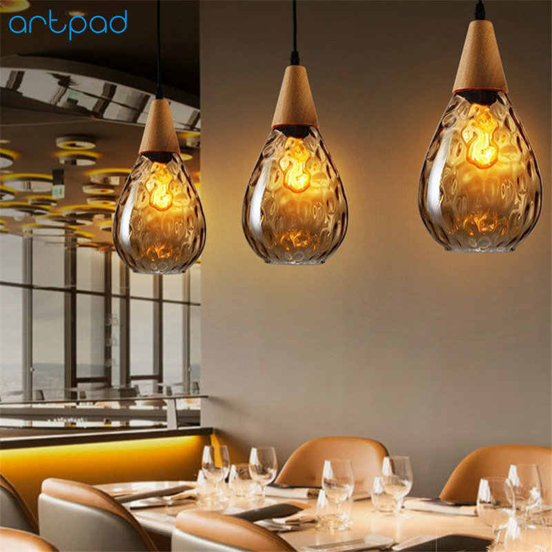 Artpard Янтарный подвесной светильник в форме капли воды Янтарный дымчатый серый абажур E27 лампа Эдисона для гостиной столовой Потолочный подвесной светильник