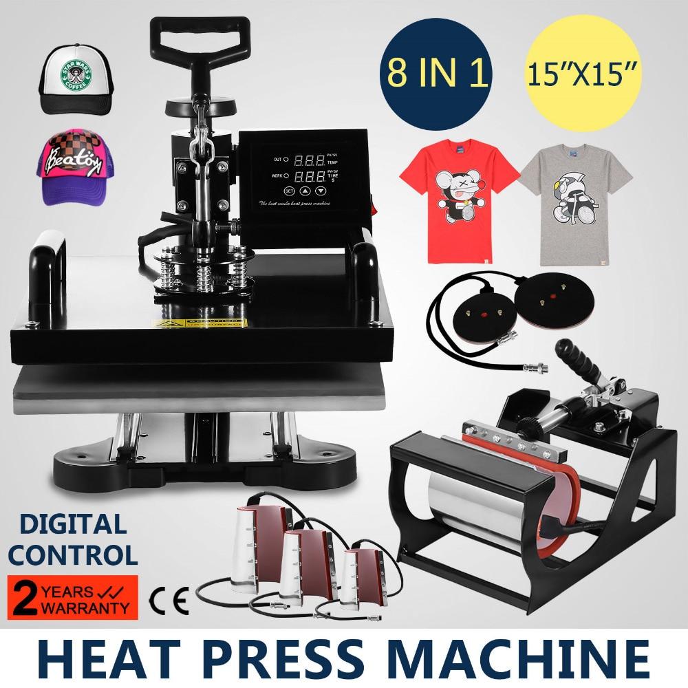 8 In 1 Digital Transfer Sublimation Heat Press Machine T-Shirt Mug Hat Cap