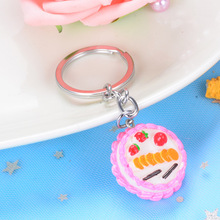2020 Cute Simulation Food Cake Key Chains Creative Resin Key Chain Car Key Ring Bag Pendant Exquisite Little Gift for Classmates creative simulation lobster key chains pendant popular key ring ornament cute gifts ls1908052