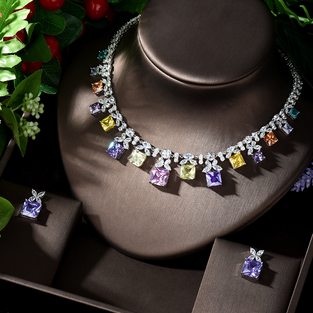 HIBRIDE 4 Color Choice White Cubic Zirconia Crystal Necklace and Earring Gold Color Indian Wedding Jewelry Set for Women N-1241