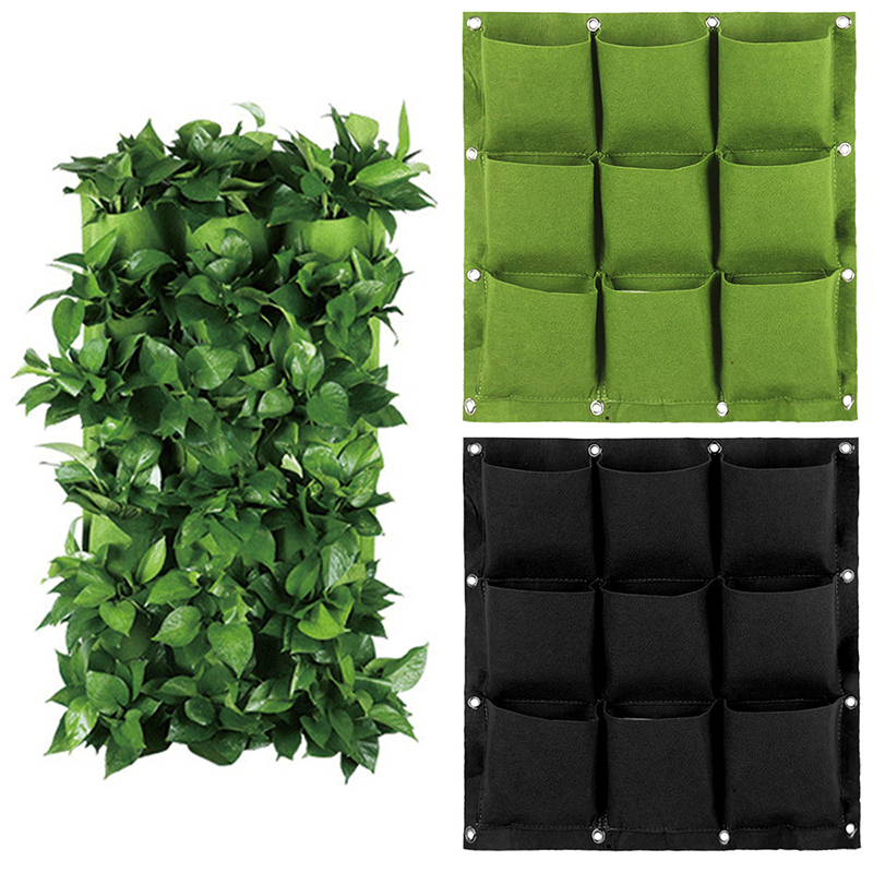 2/3/4/6/9 Grids Garden Wall Hanging Green Plant Grow Planter Non-woven Fabrics Pockets Living Bag Garden Supplies Container