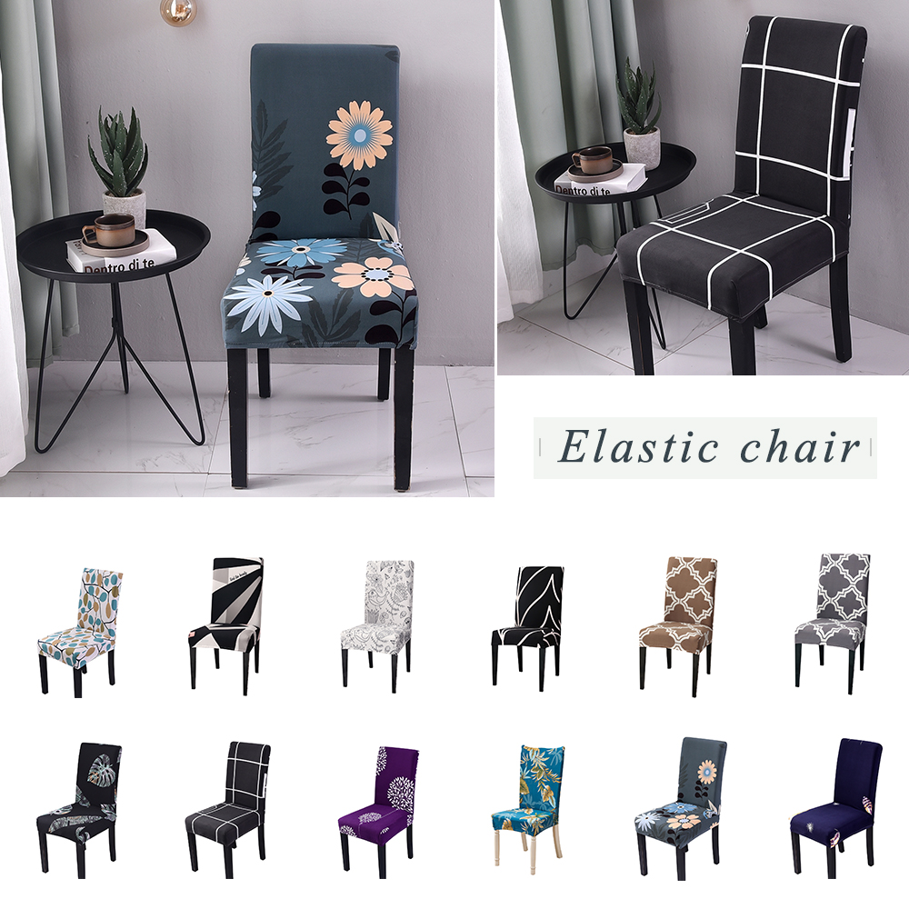 New Elastic Chair Cover For Computer Dining Room Kitchen Office Colorful Printed Chair Covers Spandex Seat Cover Wedding
