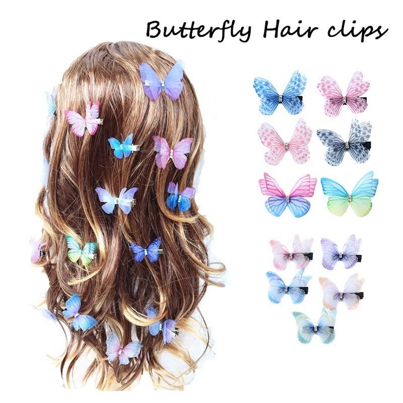 Заколки для волос в виде бабочек для детей, блестящие заколки-пряжки, свадебные аксессуары для волос, конфетные милые подарки для девочек