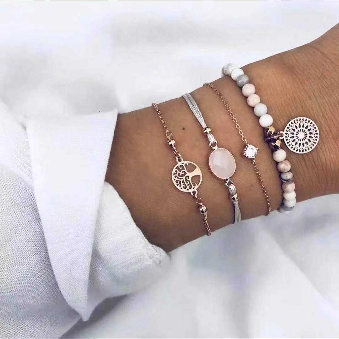 20 スタイル女性の女の子ミックスラウンド合金クリスタル大理石チャームブレスレットファッション自由奔放に生きるハートシェル文字ブレスレットセット宝石類のギフト