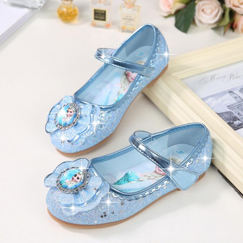 Kids Girls Wedding Dress Shoes Children Elsa Princess Shoes Bowtie Purple Pink Blue Leather Shoes For Girls Casual Shoes Flat