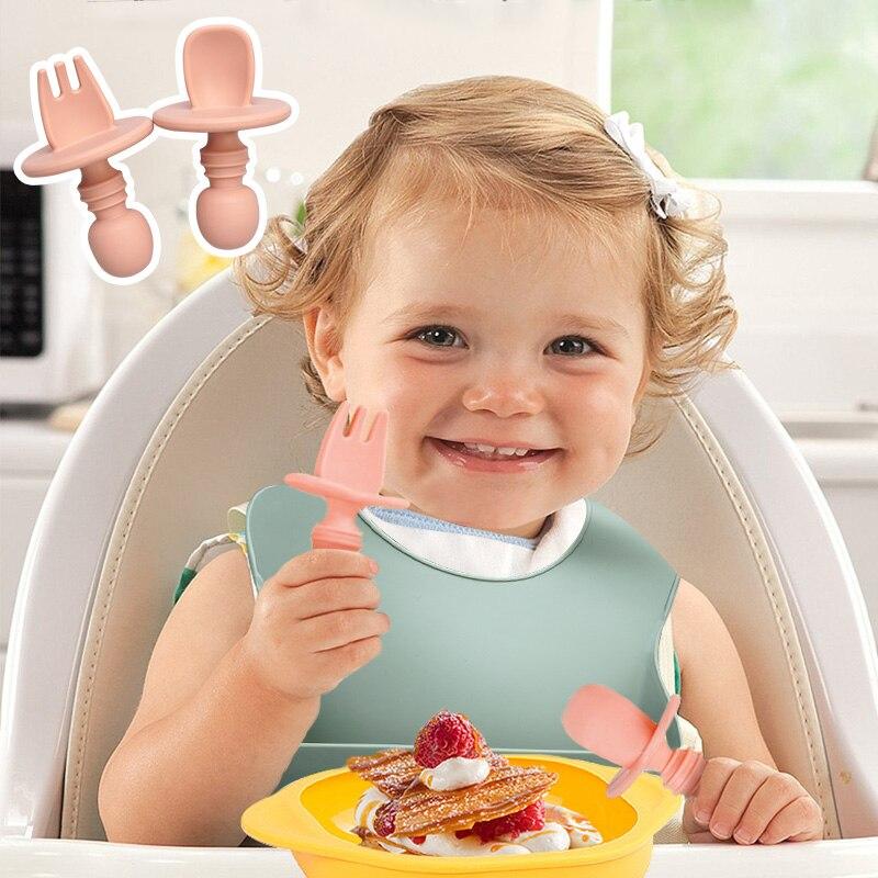 grau alimentício bebê silicone bib garfo colher