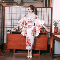 Japanese Kimono Traditional Dress with Elegant Bow Knot Sexy Yukata Women Oriental Women Evening Dress Stage Costumes