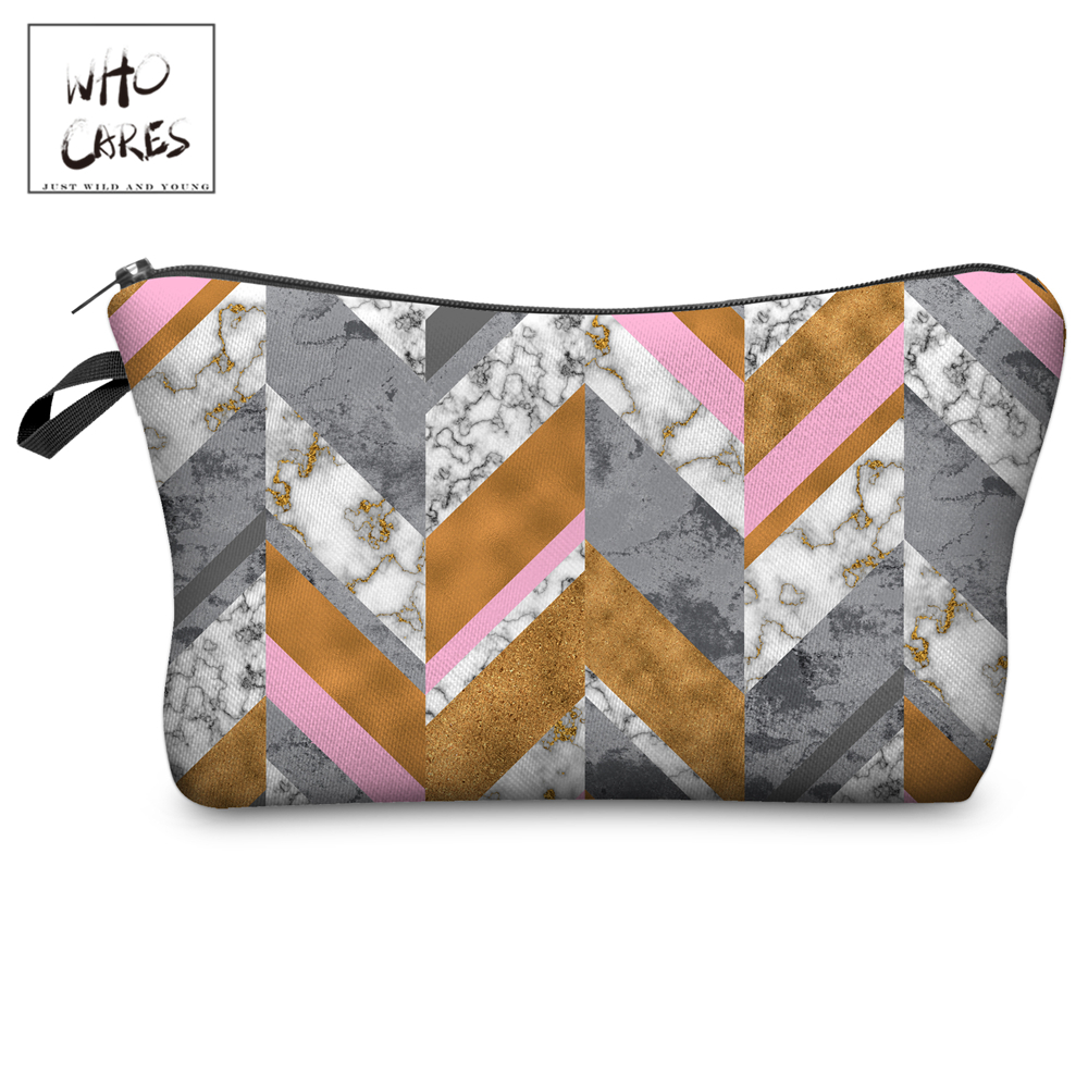 Who Cares Makeup Bags Women Cosmetic Bag Marble Triangles Printing Oiletry Bag Cosmetics Pouchs For Travel Make Up Bag