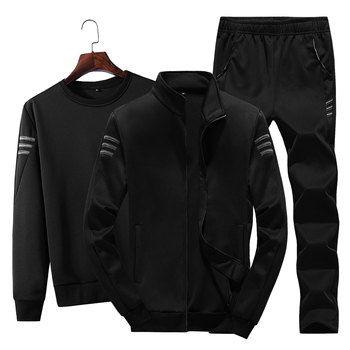 Track Field Sports Mens Three-piece Suit Pants Jacket Underwear Outdoor Running Autumn and Winter Casual Sweater