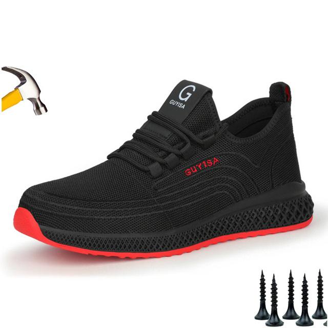 48 GUYISA letnie zabezpieczenie w pracy buty męskie przeciwzłamaniowe antyprzebiciowe stalowe palce lekkie odzienie odporne na bezpieczeństwo tanie i dobre opinie Topfight Unisex CN (pochodzenie) RUBBER Sznurowane Siateczka (przepuszczająca powietrze) Pasuje dla większych rozmiarów niż zwykle Proszę zapoznać się z następującą informacją o rozmiarach ze sklepu