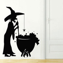 Happy Terror Halloween Creative Ghosts Botanical Wall Sticker Vinyl Home Decor Room Bedroom Witch Spider Decals Murals 3721