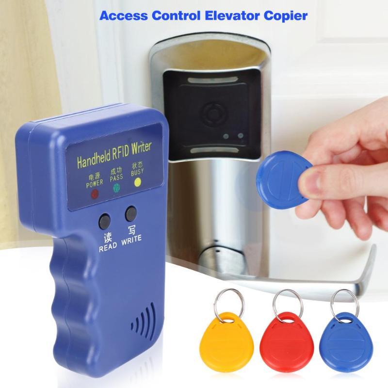 Black/Blue Duplicator Key Handheld 125KHz RFID ID Card Copier Writer Reader Writable EM4305 ID Card HID AWID Card Can Be Copied