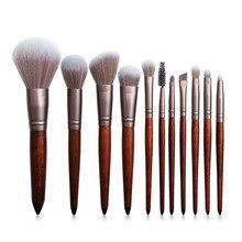 11Pcs Makeup Brushes Set Cosmetic Foundation Powder Blush Eye Shadow Lip Blend Wooden Make Up Brush Tool Kit недорого