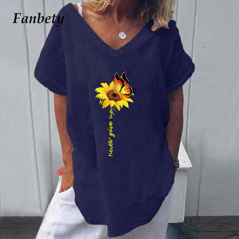 Womens Casual Cotton Linen Blouse Shirt 2020 Summer V-neck Short Sleeve Blusa Women 2XL New Fashion Print Loose Blouses And Tops