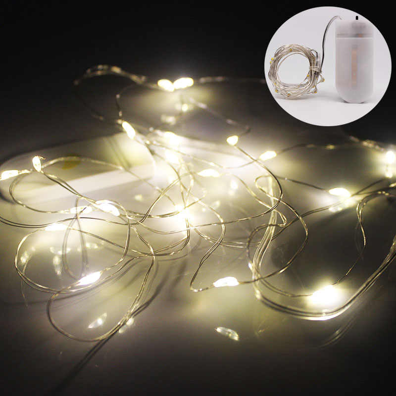 5M 2M 1M CR2032 LED Silver Wire String Lights Fairy Garland For New Year Christmas Home Wedding Decoration Battery Operated