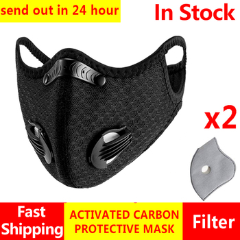 2Pcs Masque Anti Face Mask Protective Mask 5 layers Prevent PM2.5 Mouth Respirator Mask With Filter Reusable Dust Black Washable