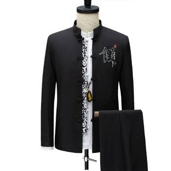 Classic Stand Collar Embroidered Suit Men 2piece Set New Fashion Men Suit Jacket and Lace-up Pant Chinese Retro Style