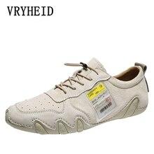 VRYHEID ブランドの高級カジュアルシューズ男性ローファー本革フラットレースアップランニングシューズ男性モカシンスニーカー靴男性