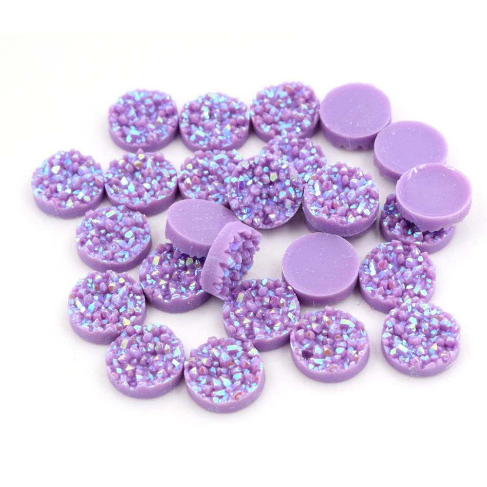New Fashion 40pcs 8mm 10mm 12mm Purple Colors Natural Ore Style Flat Back Resin Cabochons For Bracelet Earrings Accessories