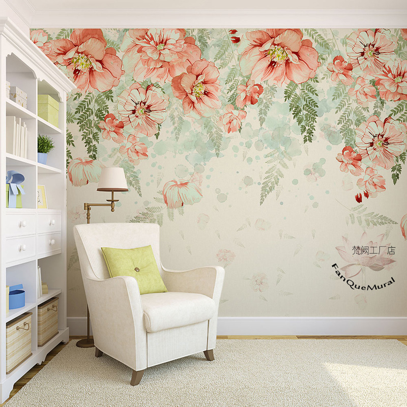 Northern European-Style INS Wallpaper Cake Milk Tea Clothing Store Living Room Wall Wallpaper Hand-Painted Warm Beautiful Flower