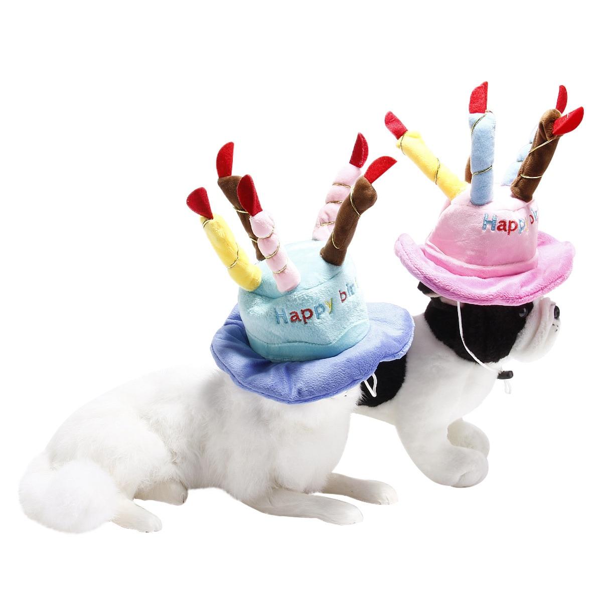 Pet Dog Cat Birthday Cake Hat Adjustable Corduroy Colorful Candles Dog Birthday Party Costume Headdress Pet Supplies