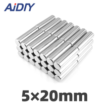 AIDIY 5/20/100 pcs 5x20mm permanent magnet small round super strong powerful rare earth magnets neodymium 5*20mm