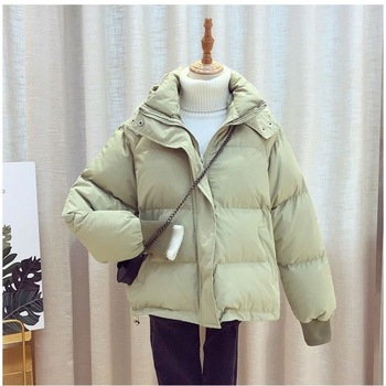 2020 New Winter Jacket Women Hooded Down Parkas Coats Short Thicken Warm Solid Fashion Outwear Losse Jacket Female Coat new women long coat parkas female glossy winter warm thicken faux fur coats silver down jacket parker jacket coat