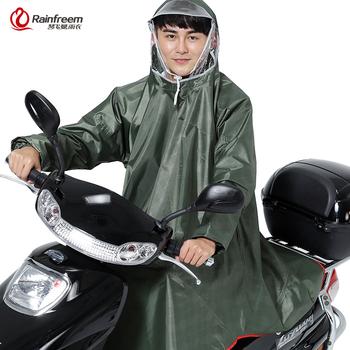 Rainfreem mężczyźni kobiety nieprzepuszczalne elektromobilne rowerowe poncho przeciwdeszczowe gruby płaszcz przeciwdeszczowy podwójny przezroczysty kaptur sprzęt przeciwdeszczowy płaszcz przeciwdeszczowy tanie i dobre opinie QFM-WM-new arrival-army green Motocykl electrombile przeciwdeszczowa Single-osoby przeciwdeszczowa Poliester Dorosłych