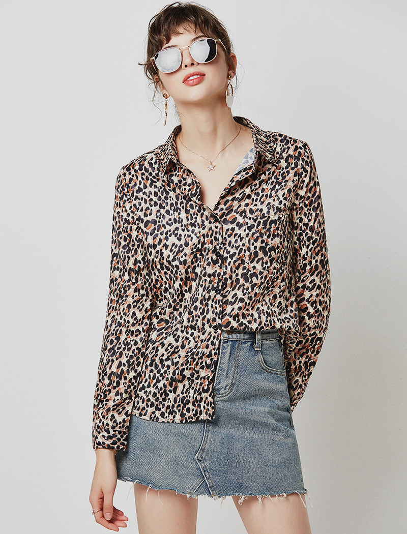 Vintage Leopard Print Blouse Women Casual Shirts 19 Loose Long Sleeve Turn Down Collar Office Shirt Tunic Plus Size Hunt Femme 7