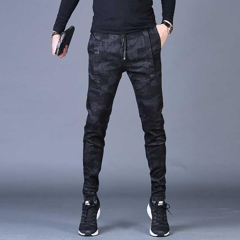 Free Shipping New Fashion Men's Male Casual Original Camouflage Jeans Men Plus Velvet Autumn Stitching Pants Slim Korean C3129