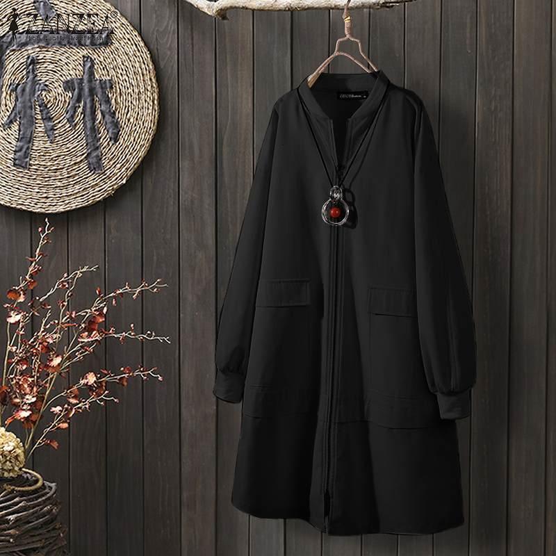 2020 Fashion Plain Zipper Up Long Trench ZANZEA Women Casual Long Sleeve Coats Loose Manteau Femme Thicken Outwear Plus Size 5XL