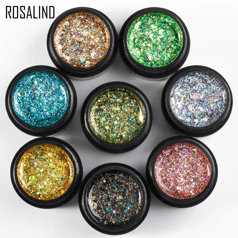 ROSALIND 5ml SHINY Diamondเจลเล็บPolish BrightสำหรับGlitter Nail Art Design POLY TOP BASE Primerสำหรับเล็บ