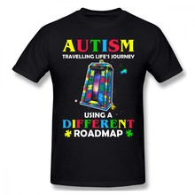 Autism T Shirt Autism Shirt Traveling Life S Journey Using A Different Roadmap T-Shirt Short Sleeve Fashion Tee Shirt Tshirt(China)