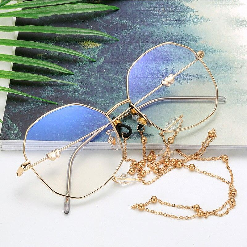 Anti Blue Light Glasses Frame Women Anti Blue Protection Oversized Metal Flat Mirror Eyewears Frames With Metal Chain