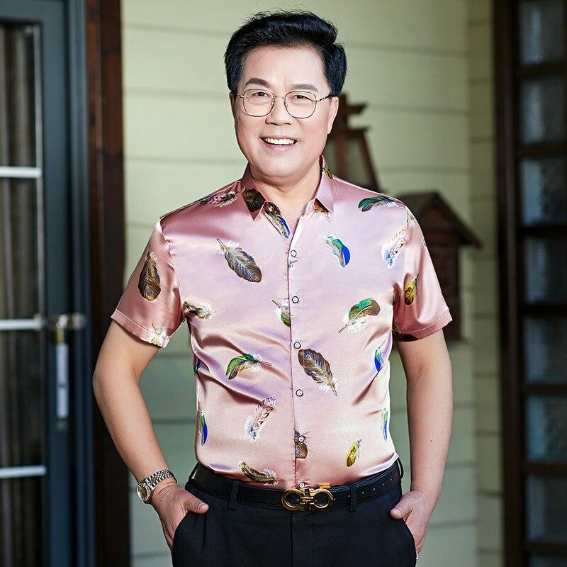 Male Summer Floral Printed Shirts Fashion Printing Mens Silk Clothes Short Sleeve Satin Silk Dress Shirt