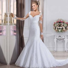Double Shoulder Pearls Beads Sash Elegant Mermaid Wedding Dresses 2019 Plus size Custom Made Embroidery dress