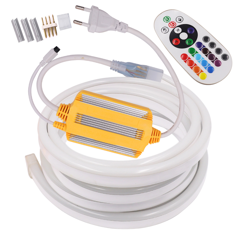 Remote Control Neon Strip RGB LED Light 220V AC 5050 24key 1500W Controller Neon Rope Flexible LED Waterproof Outdoor Decoration